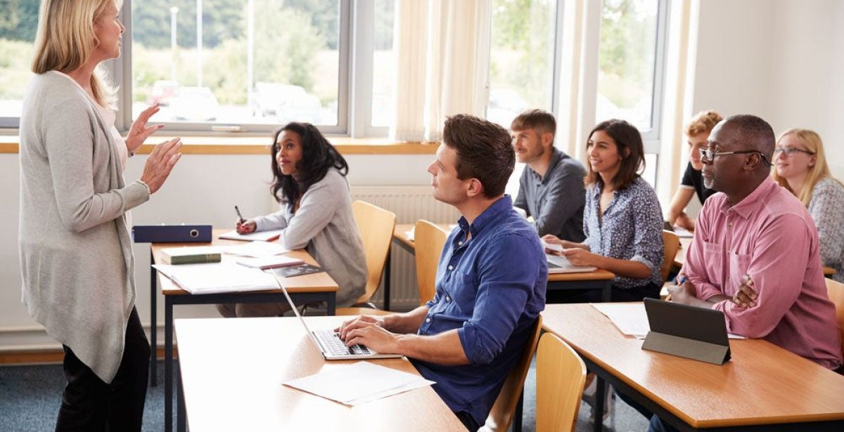 Students in classroom studying Masters in TESOL