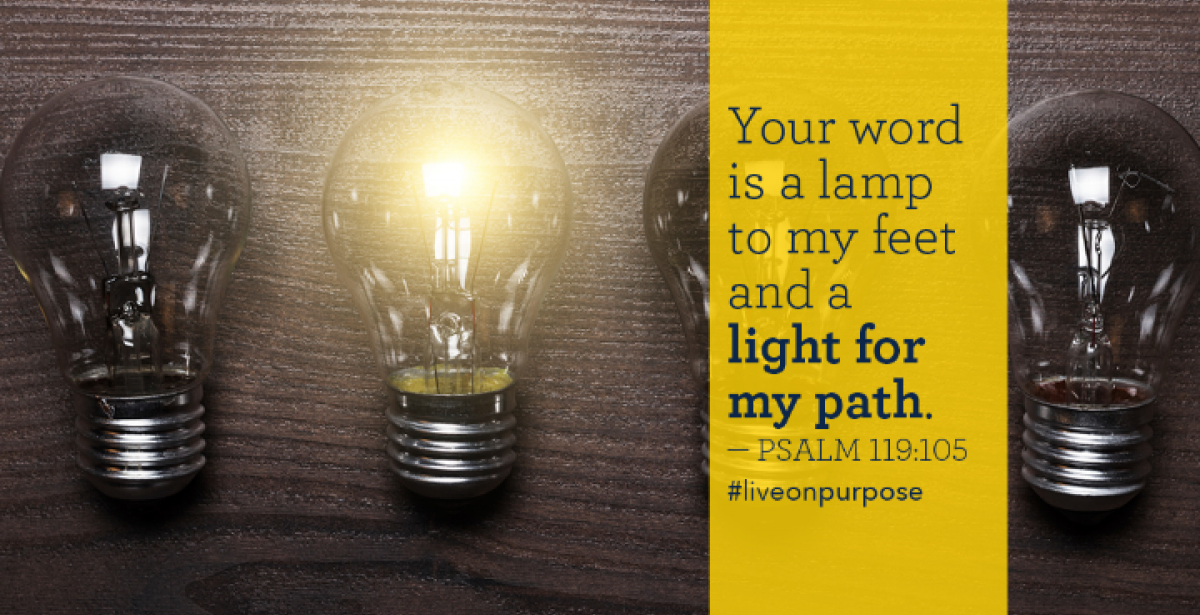 """Your word is a lamp to my feet and a light for my path"" - Psalm 119:105 lightbulb graphic"