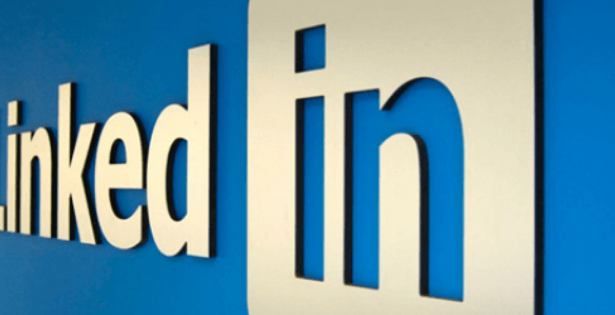 LinkedIn logo on office wall