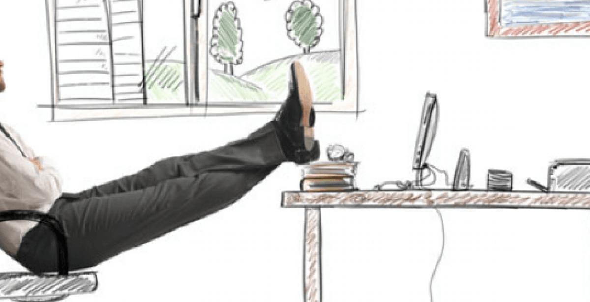 Man against animated background resting his feet upon a desk