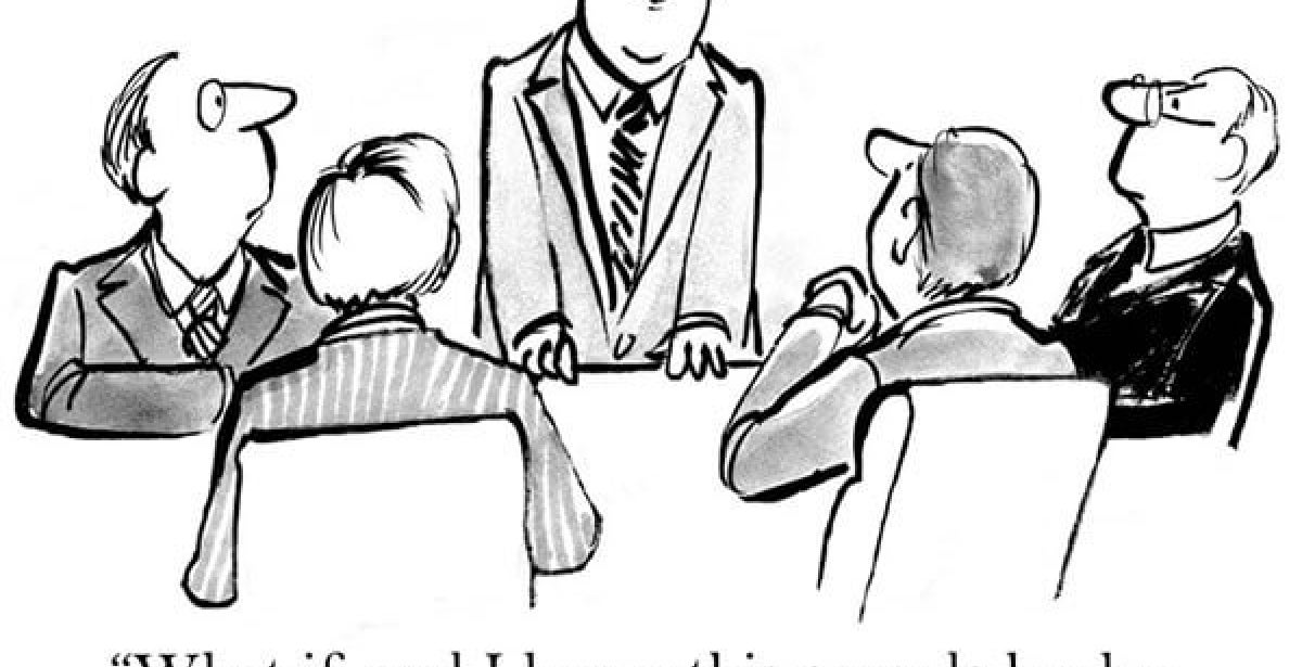 Company board members asking what if we communicated with the employees cartoon