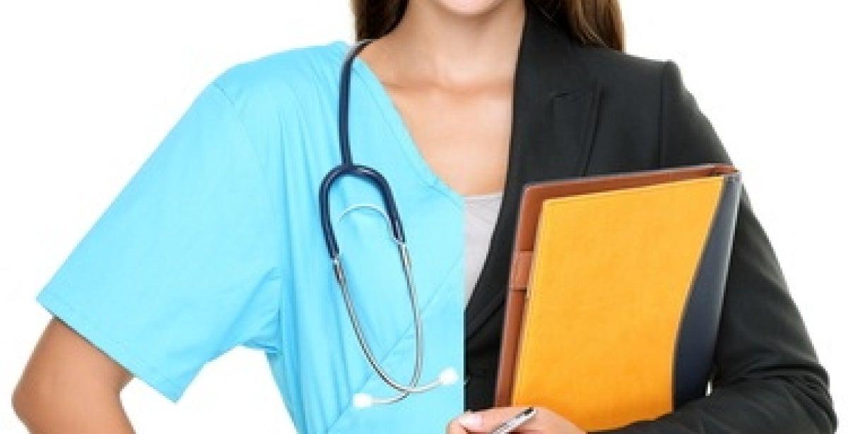Woman wearing half nursing scrubs and half business attire