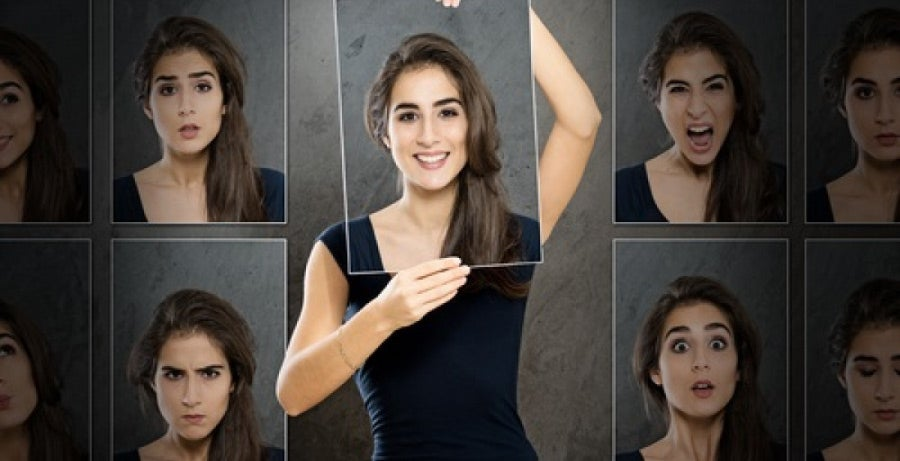 Different facial expressions representing different aspects of personality