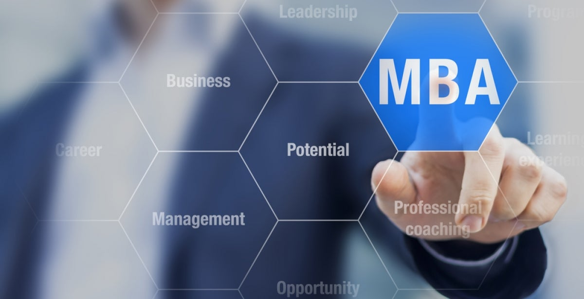 """Stylized picture of man in business suit touching the word """"MBA"""""""