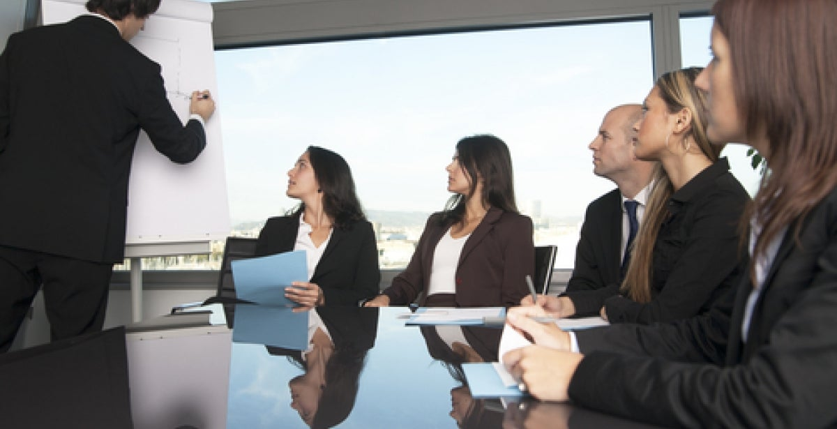 Organizational consultant leading a meeting in a boardroom