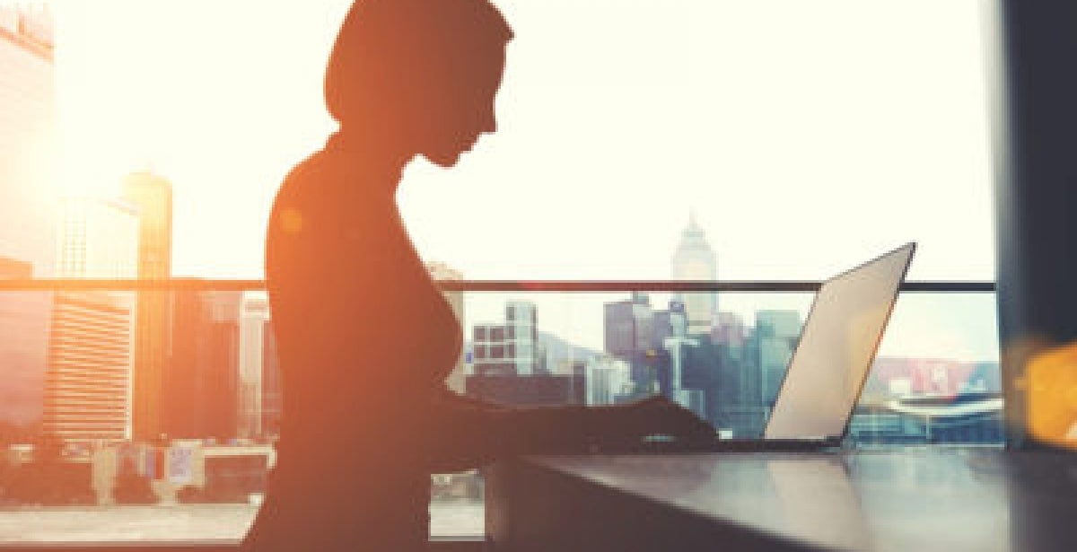 Silhouette of businesswoman in office